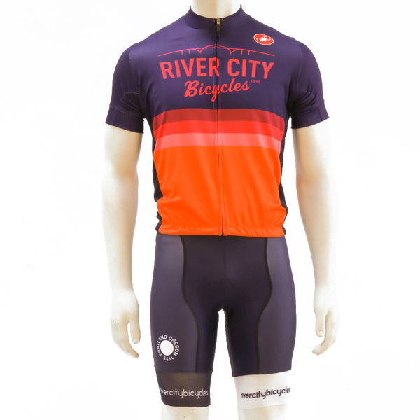 River City Bicycles Castelli Orange Stripe Jersey - Short Sleeve