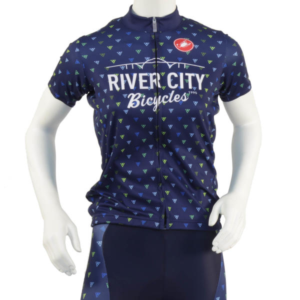 River City Bicycles Women's Navy Triangle Print Castelli Jersey, Short Sleeve