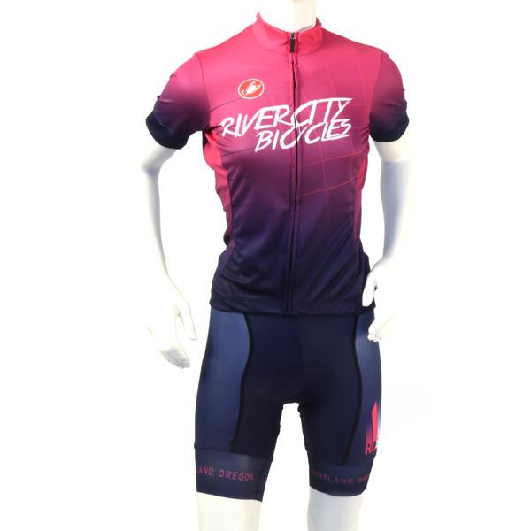 River City Bicycles Purple Fade Castelli Women's Jersey, Short Sleeve