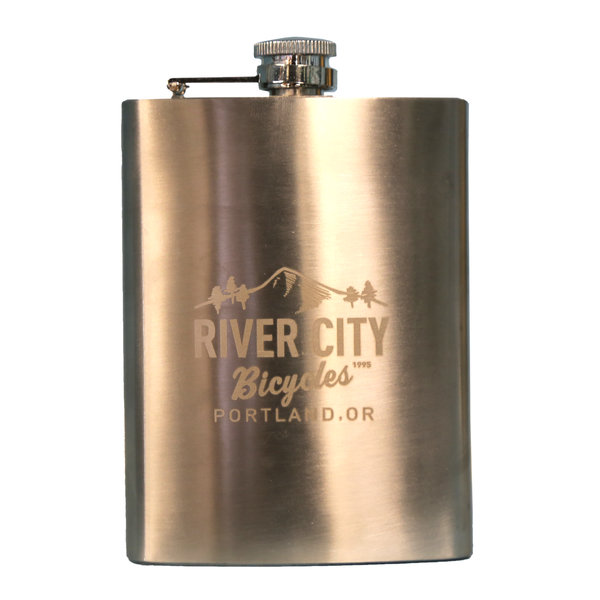 River City Bicycles MTN Logo Stainless Steel Flask, 8 oz