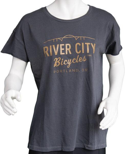 River City Bicycles Bridge Logo Women's Tee - Coal / Metallic