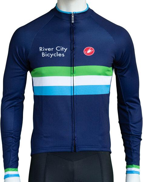 River City Bicycles Castelli Navy Stripe LS Jersey