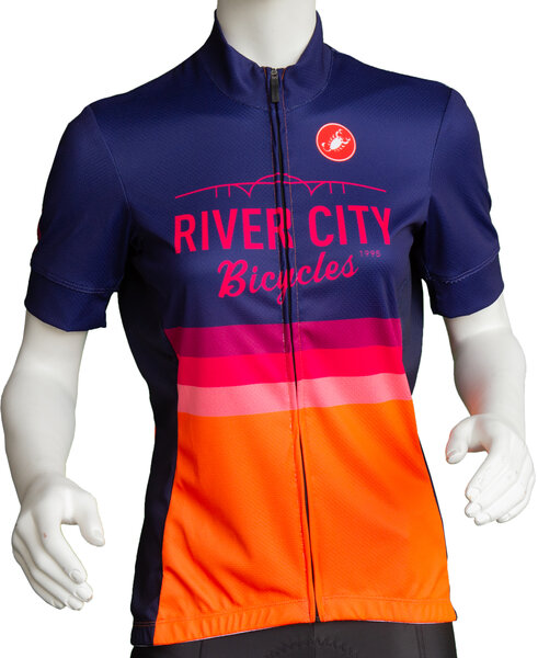 River City Bicycles Castelli Orange Stripe Women's SS Jersey