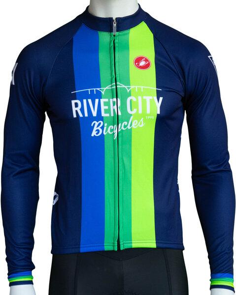 River City Bicycles Castelli Navy Vertical Stripe LS Jersey