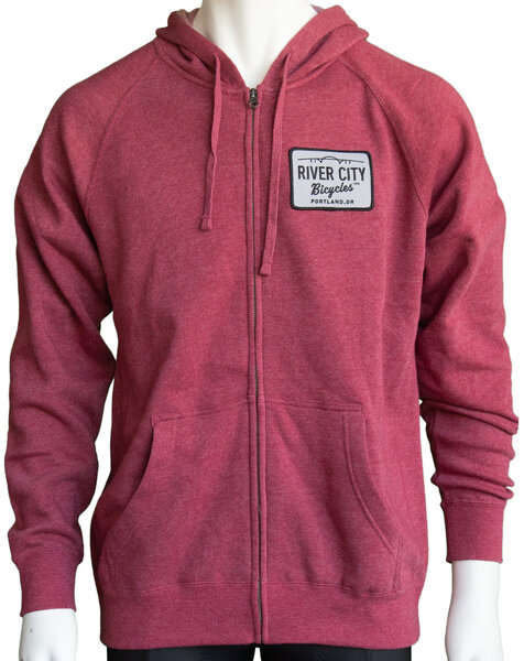 River City Bicycles Patch Hoodie - Crimson Heather