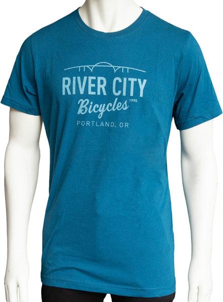 River City Bicycles Bridge Logo Men's Tee - Deep Teel
