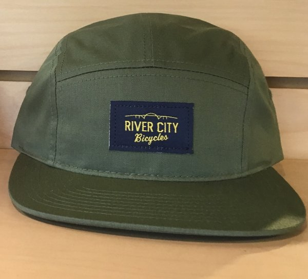 River City Bicycles 5 Panel Twill Hat, Woven Label