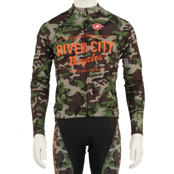 River City Bicycles Camo Castelli Jersey, Long Sleeve w/ Orange Logo