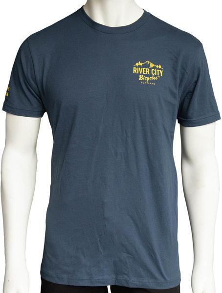 River City Bicycles Mountain Logo Men's Tee - Indigo