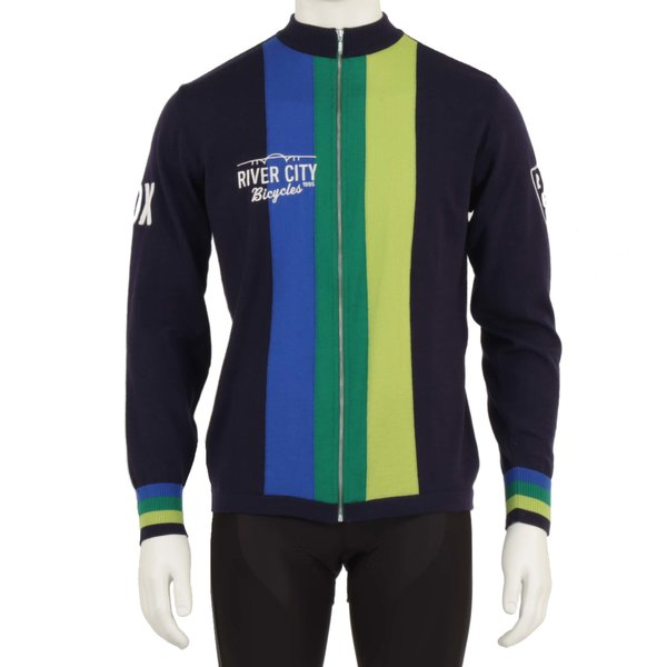 River City Bicycles Merino Navy Vertical Stripe Long Sleeve