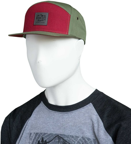 River City Bicycles Mountain Logo Leather Patch C57 Hat - Dark Cardinal / Olive