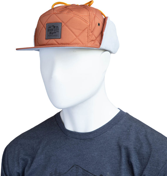River City Bicycles Mountain Logo Leather Patch Hat - Rust w/Flaps