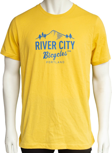 River City Bicycles Mountain Logo Men's Tee - Yellow