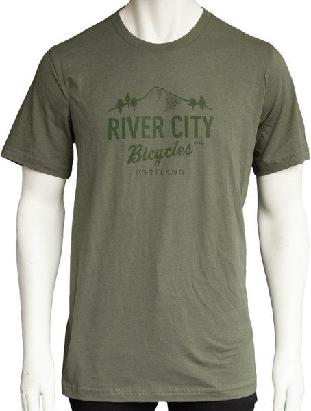 River City Bicycles Mountain Logo Men's Tee - Military Green