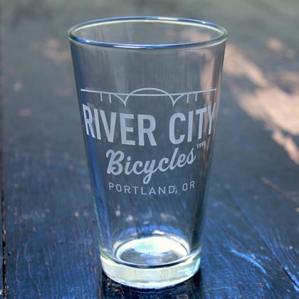 River City Bicycles RCB Pint Glass