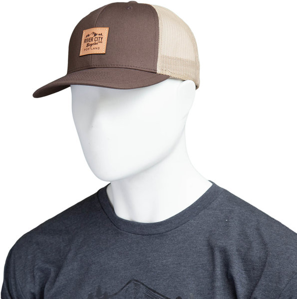 River City Bicycles Trucker Hat, Mountain Logo Patch - Brown