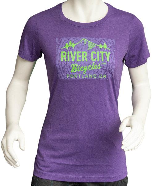 River City Bicycles Giro Tree Ring + logo Women's Tee - Purple