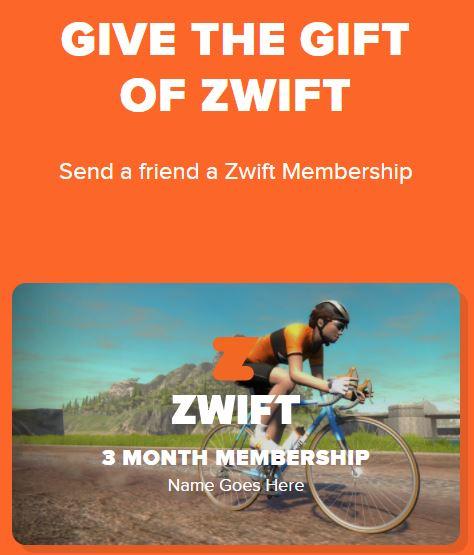 Zwift 3 Month Membership Gift Card