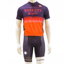 River City Bicycles Castelli Orange Stripe Jersey - Short Sleeve