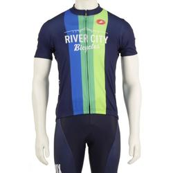River City Bicycles Navy/Vertical Stripe Castelli Jersey, Short Sleeve