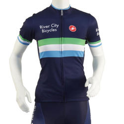River City Bicycles Navy Stripe Castelli Women's Jersey, Short Sleeve