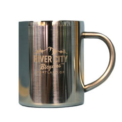 River City Bicycles MTN Logo Stainless Steel Mug, 9 oz.