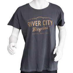 River City Bicycles Bridge Logo Women's Tee - Coal / Metallic