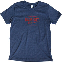 River City Bicycles Bridge Logo Youth Tee - Heather Navy