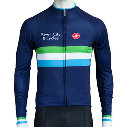 River City Bicycles Castelli Navy Stripe LS Jersey