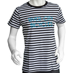 River City Bicycles Women's Stripe Tee - Black w/Turq
