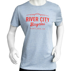 River City Bicycles Bridge Logo Women's Tee - Prizm Blue / Red