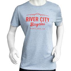 River City Bicycles Bridge Logo Women's Tee - Prizm Blue / Red