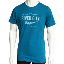 River City Bicycles Bridge Logo Men's Tee - Deep Teel