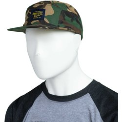 River City Bicycles 5 Panel Twill Hat, Woven Label - Camo