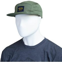 River City Bicycles 5 Panel Twill Hat, Woven Label - Olive