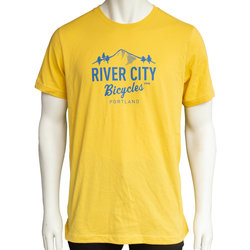 River City Bicycles Mountain Logo Men's Tee - Yellow