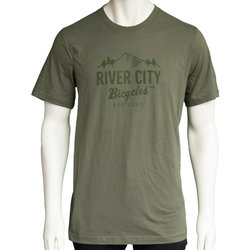 River City Bicycles Mountain Logo Men's Tee - Military Green
