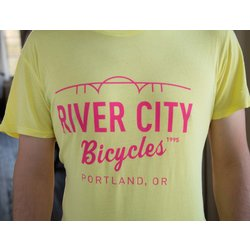 River City Bicycles Bridge Logo Men's Tee - Yellow