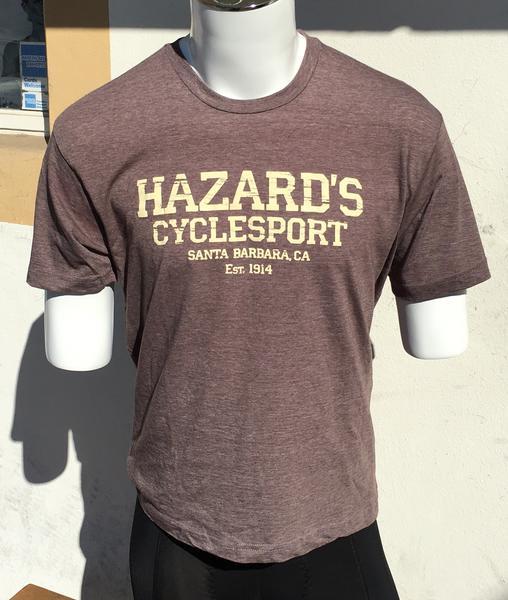 Hazard's Cyclesport Men's T Distressed design - Heather Brown