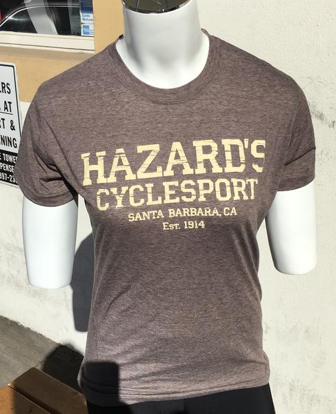 Hazard's Cyclesport Women's T Distressed design - Heather Brown