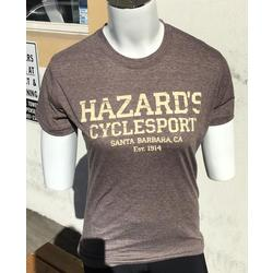 Hazard's Cyclesport Women's T Distressed design - Heather Brown