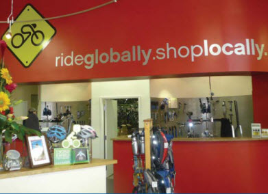 Ride Globally. Shop Locally.
