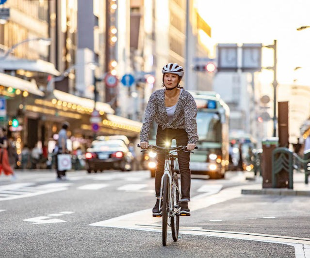Woman bike commuter