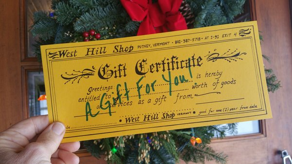 West Hill Shop Gift Card