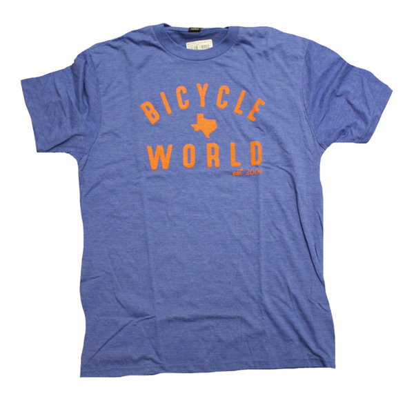 Bicycle World Established 2004 Blue Tee