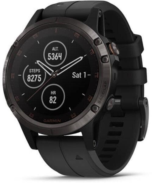 Garmin Fenix 5 Plus Carbon Gray DLC Titanium with Black Silicone Band
