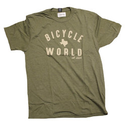 Bicycle World Established 2004 Olive Tee