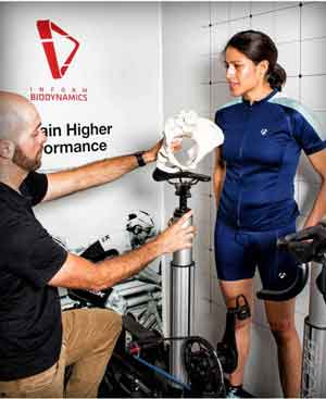 Bike Fitter demonstrating pelvic alignment