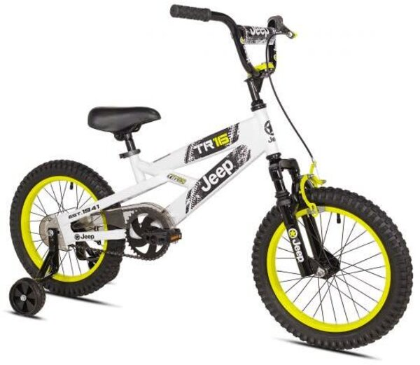 "Kent International 16"" Boys Jeep TR16 Color: White/Yellow"
