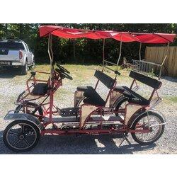 NewTecnoArt Used Ciclofan Delfino Double Bench Surrey Bike (Red w/ Red Top)